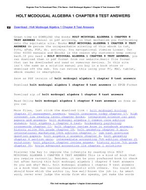 Fillable Online Holt Mcdougal Algebra 1 Chapter 8 Test