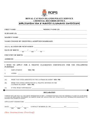 Cayman Island Police Clearance Online Application Form