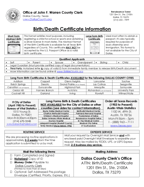 Editable birth certificate texas dallas to Submit Online in