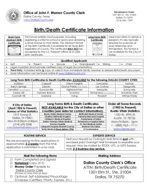 Where do i go to get my birth certificate in dallas texas