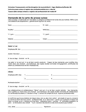 demande carte de presse Remplissable En Ligne Remplissable Demande de la carte de presse