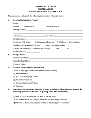 Fillable Online lahaina yacht club boomvangers scholarship ... on country club application form, social club members, school club application form, social club membership form, club membership application form, social club rules, social media membership form, social club floor plans, social club activities, social club background, social club events,