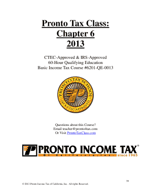 Fillable Online Pronto Tax Class Student Reviews Fax Email Print