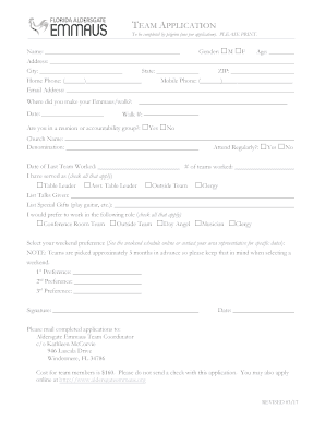 Fillable Online team application - Florida Aldersgate Emmaus