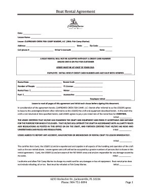 Fillable Online Boat Rental Agreement Fish Camp Marine New