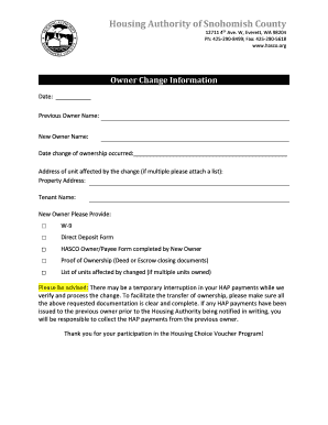 Fillable Online Owner Change Packet - Housing Authority of Snohomish
