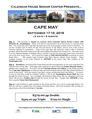 Fillable Online 17 19 Cape May Calendar House Fax Email Print