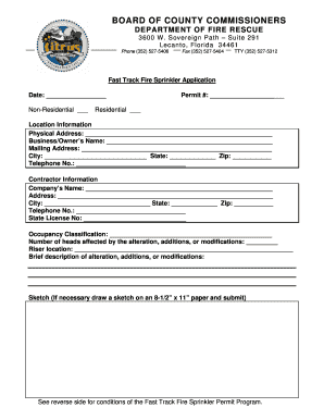 Fillable Online Fire Sprinkler Application - Citrus County