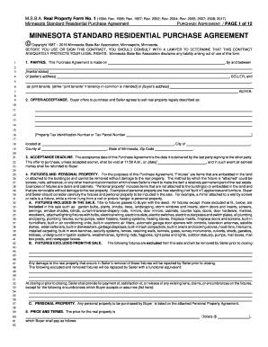 Fillable Online Minnesota Standard Residential Purchase Agreement