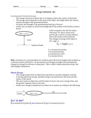 Fillable Online Worksheet - Mechanical Energy - Grade 10 ...