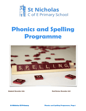 Fillable Online Phonics and Spelling Programme - St Nicholas