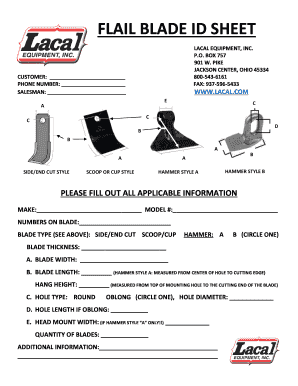 Fillable Online flail blade id sheet - Lacal Equipment Fax