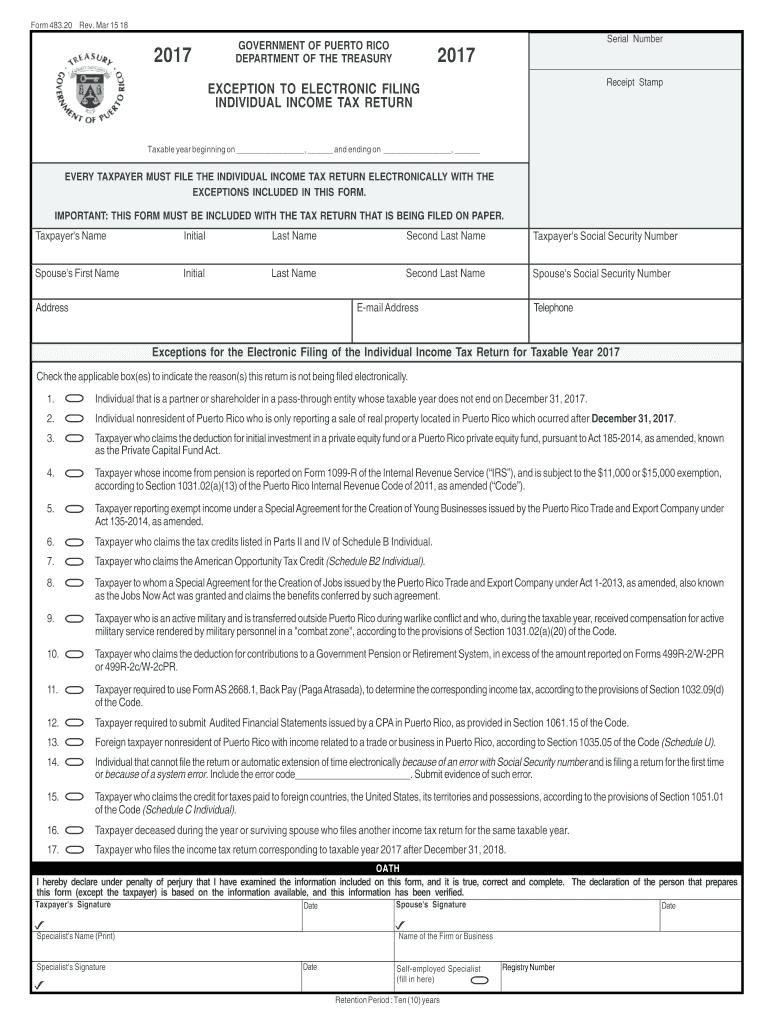 2017-2019 PR Form 483 20 Fill Online, Printable, Fillable