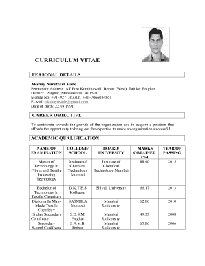 Fillable Online Curriculum Vitae Kejriwal Industries Ltd Fax