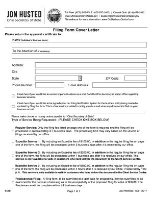 Fillable Online Filing Form Cover Letter Ttc Business