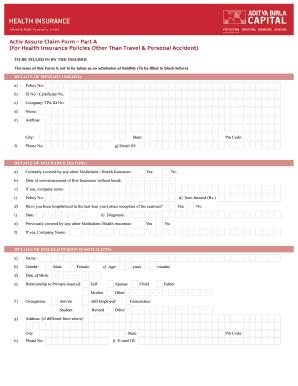 Fillable Online Activ Assure Claim Form Part A300916 Cdr ...