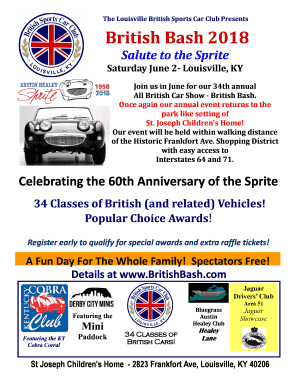 Fillable Online British Bash Louisville British Sports Car - Car show louisville ky