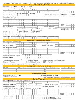 Fillable Online Maybank Personal Loan Application Form Borang Permohonan Pinjaman Peribadi Maybank Fax Email Print Pdffiller