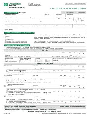 Fillable Online Application For Enrolment 9147a Desjardins Life Insurance Fax Email Print Pdffiller
