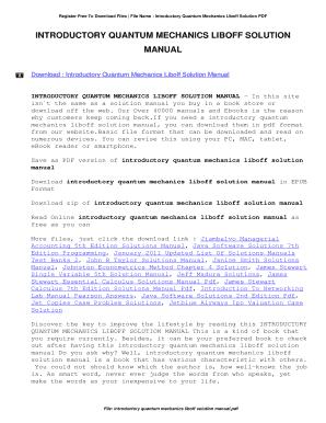 Introductory quantum mechanics liboff solution manual by david.