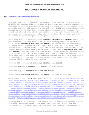 fillable online motorola minitor iii manual motorola minitor iii rh pdffiller com Motorola Minitor 6 Pager Motorola Minitor 6 Pager