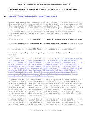 fillable online geankoplis transport processes solution manual rh pdffiller com Process Manual vs Automated Process Manual Labor