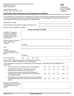 The completed form should be sent immediately to the Head of Field Delivery England/Scotland/Wales for the area