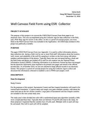 Fillable Online Well Canvass Field Form using ESRI Collector