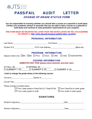 Fillable Online Change of Grade Status Form Fax Email Print - PDFfiller