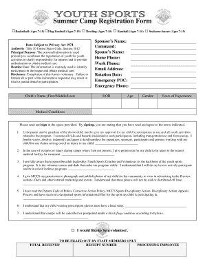 Fillable Online Youth Baseball Registration Form Fax Email Print ...