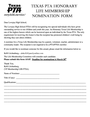 Printable texas pta forms - Edit, Fill Out & Download Resume
