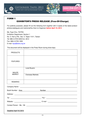 FORM 1 EXHIBITOR'S PRESS RELEASE (Free-Of-Charge)