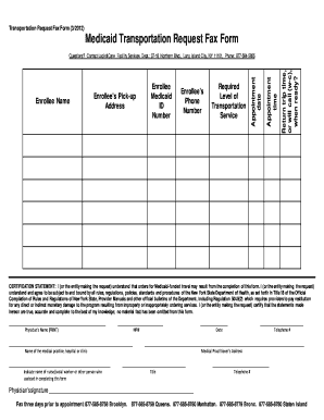 Fillable Online Medicaid Transportation Request Fax Form - New ...