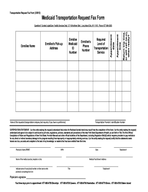 Fillable Online Medicaid Transportation Request Fax Form With 2015 ...
