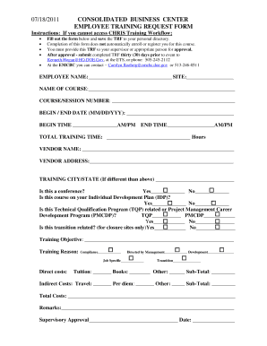 Employee Training Request Form   Fill Online, Printable, Fillable, Blank |  PDFfiller