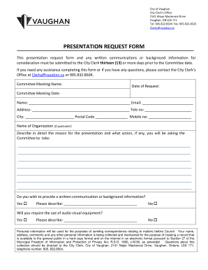 PRESENTATION REQUEST FORM - City of Vaughan