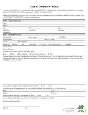 TITLE VI COMPLAINT FORM - Valley Metro - valleymetro