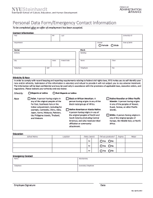 Personal Data And Emergencycontact Fill Online Printable Fillable Blank Pdffiller
