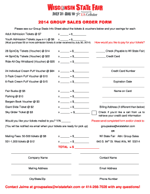 2014 GROUP SALES ORDER FORM - Wisconsin State Fair Park