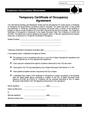Fillable Online Temporary Certificate Of Occupancy Agreement Fax