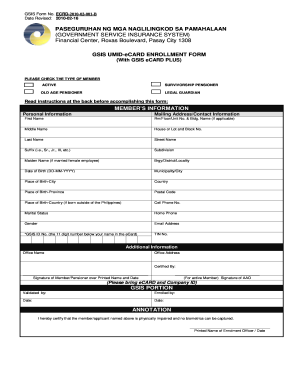 Gsis Umid Ecard Enrollment Form