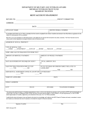 Rent Account Statement Form - St. Clair County - stclaircounty