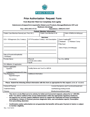 Fidelis Care Prior Authorization Form Fill Online Printable