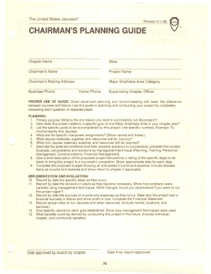 Chairman's Planning Guide (CPG) Form/Budget Sheet Financial ...