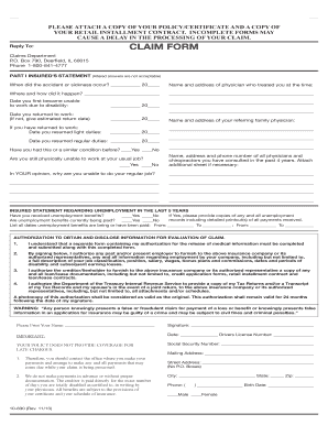 Credit Disability Insurance Claim Form - Protective Asset Protection