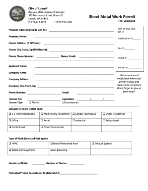Fillable Online Lowellma Sheet Metal Mechanical Permit