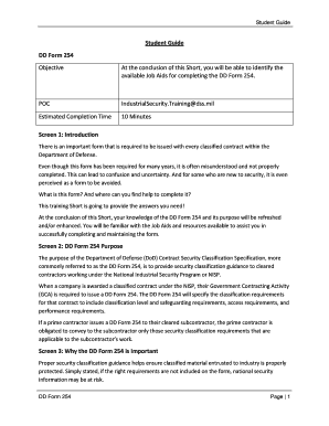 Fillable Online dss Student Guide DD Form 254 Objective At the ...