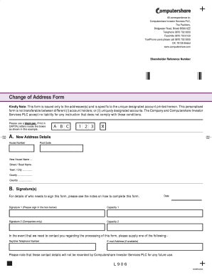 Computershare Change Of Address Form Pdf  Change Of Address Printable Form