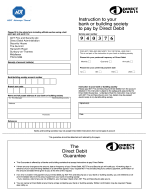 Adt Security Direct Debit Form