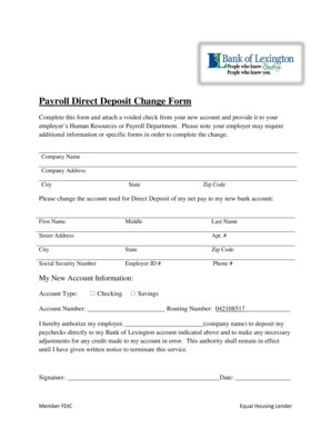Payroll Direct Deposit Change Form - Bank of Lexington